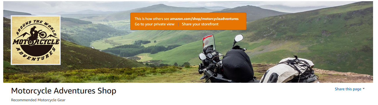 Motorcycle Adventures Amazon Shop